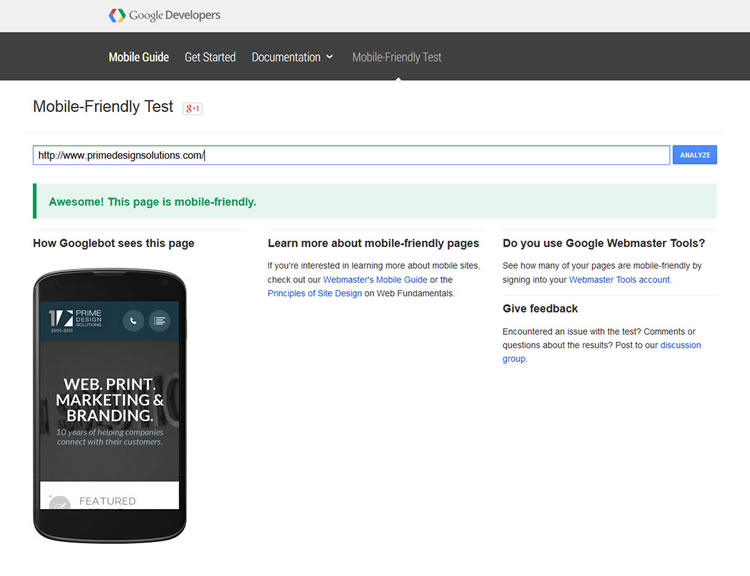 Google Mobile Website Testing Tool Results